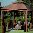 10 x 12 Bali Wicker Post Canopy Gazebo with Mosquito Netting & Walls