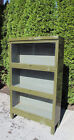Vintage Industrial Metal 3 Large Stack Sectional Bookcase Complete Old Glass