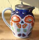 Antique Flow Blue Gaudy Welsh Syrup Jug,Pewter Hinged Lid,c. 1900