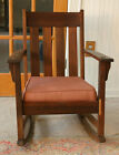 antique early CENTURY oak ARTS and CRAFTS ROCKING CHAIR clean COMPLETE vg