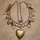 Long Vintage Brass Tone Victorian Floral Heart Locket Cupid Charm Necklace 447