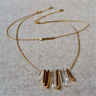 Authentic Gold Rebel Cluster Necklace Chunky Spike Quartz Fragments Pave Bar