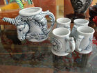 RARE and perfect Jim Rumph vintage UNICORN pitcher set 1980 California Pottery