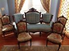 Early 20th C. Massive Jelliff Settee and 4 Chairs Minerva, Parrots Walnut
