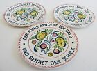 3 Vtg. Georg Schmider Zell Dishes~German Sayings~Hand Painted~6+5/8