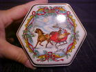 1988 Heritage House Melodies of Christmas Porcelain Octagon Music Box