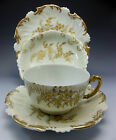 1895 T&V Limoges Tea Cup Saucer Set Hand Painted Gold Bread Plate Berry Bowl