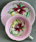 JAPAN TEACUP & SAUCER-PINK/HAND PAINTED ORCHID G920