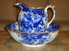 ANTIQUE Ridgways SASKIA Flow Blue Pitcher Bowl Chamber Pot Wash SET Basin 1800's