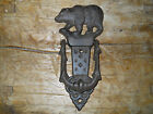 Cast Iron Antique Style BLACK BEAR Door Knocker Rustic Brown Finish Cabin Decor