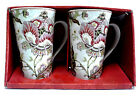 222 Fifth Gabrielle Cream 2 Piece Tall Latte Mug Set, Cream Red Floral Pattern