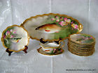 ANTIQUE FRENCH LIMOGES HAND PAINTED FISH SET PLATTER PLATES SIGNED DELSOL 19TH C