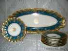 ANTIQUE FRENCH LIMOGES LS&S LEWIS STRAUS & SONS HP FISH PLATTER +7 PLATES 19TH C