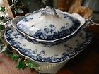 Antique Sampson Hancock & Sons Flow Blue Arundel Opaque China Tureen & Platter