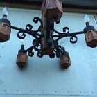 VINTAGE RUSTIC WOOD MEDIEVAL FIVE CANDLE LIGHT WROUGT IRON OLD-WORLD CHANDELIER