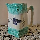 RARE FRENCH MAJOLICA ANTIQUE PITCHER WITH