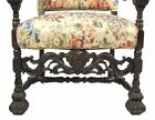 Antique Heavily Carved Gothic Great Hall Chair or Throne Chair w Scroll Arms