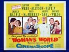 WOMAN'S WORLD ORIGINAL 11X14 TITLE CARD 1954 JUNE ALLYSON LAUREN BACALL