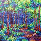 SARA LARSON AUTHENTIC ORIGINAL Forest Park Landscape Painting Professional Art