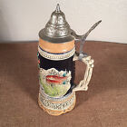 Vintage Porcelain Beer Stein Germany Reuge Music Box Swiss Movement NICE