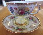 Vintage Japan Yellow Lustreware Lustre Yellow Floral Footed Teacup