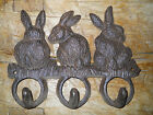 Cast Iron BUNNY Towel Coat Hooks, Hat Hook, Key Rack GARDEN RABBIT Brown