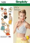 Simplicity 1426 Paper Sewing Pattern 1950's Vintage Retro Style Bra Top 4-22