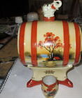 hand painted Sake set- barrel with elephant on top with one Sake cup-pristine.