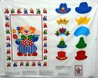 Clown & Hats Cut Out Sewing Cotton Blend Fabric Panel 45