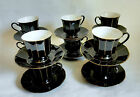 Tea Coffee Cups and Saucer Formal Facets Mikasa Midnight Gold from Japan 10 set