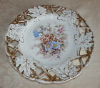 Vtg Round Serving Plate Hand Painted Chic Flowers Oak Leaves Shabby White