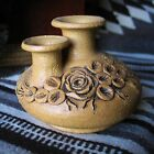 Double Neck Pottery Vase with applied floral  Rose Design, signed Carma 2000