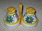 DERUTA STYLE (ASSISI, ITALY)  SALT AND PEPPER SHAKERS WITH HANDLED HOLDER