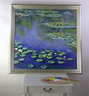 Silver wooden Framed quality oil painting Water Lilies by Claude Monet 103x101cm
