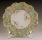 VICTORIAN JEAN POUYAT LIMOGES PETIT FLEUR PLATE, TAPESTRY, RUFFLED, RARE