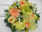 YELLOW AND PEACH FLORAL WREATH   SUMMER-TIME DOOR DECOR   INTERIOR DECOR WREATH