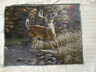 Fall Buck Running Whitetail Deer Autumn unfinished Tapestry Fabric Large Panel