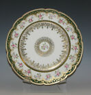C.1900 GDA LIMOGES EMPIRE STYLE PORCELAIN PLATE, HEAVY GOLD, ROSES, 8