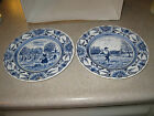 Luneville Studio France Two Blue & White Dinner Plates Man Spring Woman Autumn
