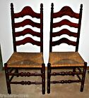 2 Vintage Mahogany Ladderback Chairs Rush Seats One Owner Late 1940's