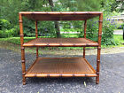 John Widdicomb 3 Tier Faux Bamboo End Table Side Table w/ Caning Local PU