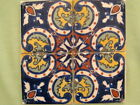 4 Tiles Mexican Talavera pottery Hand Painted Vintage or Antique Mexico