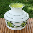 Vintage 8 Glass Hurricane Lamp Globe Shade Hand Painted Milk Glass Replacement