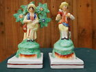 SUPERB PAIR: EARLY 19thC STAFFORDSHIRE PEARLWARE GARDENER & WIFE FIGURES c1810s