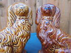 SUPERB PAIR of MID 19thC STAFFORDSHIRE TREACLE GLAZED SEATED SPANIEL DOGS c1860s