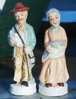 Vintage Country Couple Old Man & Woman Ceramic Pair Figurines