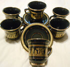 Spyropoulos Set of 6 Cups & Saucers - Handmade in Greece 24 K Gold