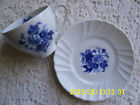 Irabia China Petite Tea Cup and Saucer Pamplona Spain White with Blue Flowers