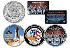 SPACE SHUTTLE CHALLENGER In Memoriam JFK Half Dollar US 3 Coin Set NASA Mission