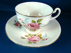 Royal Imperial Bone China TEA CUP & SAUCER England Pink Roses Gold trim #22
